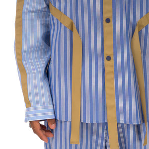 White Mountaineering | Striped Broad Taped Shirt Blue