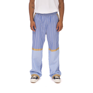 White Mountaineering | Stripe Taped Wide Pants Blue - Concrete