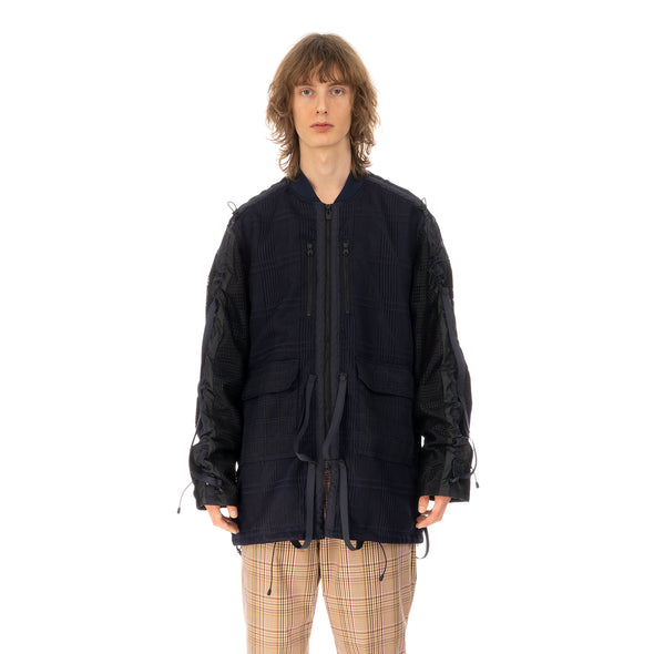 White Mountaineering | Mesh Shirring MA-1 Jacket Navy
