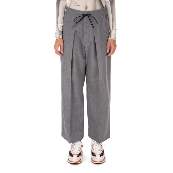 adidas Y-3 | W Classic Winter Wool Cropped Wide Leg Pants Grey - GK4461