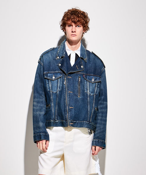 FACETASM | x LEVI'S® Biker's Trucker Jacket Denim - Concrete