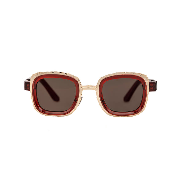 KUBORAUM Sunglasses & Case Z8 46-26 RED Flash Gold
