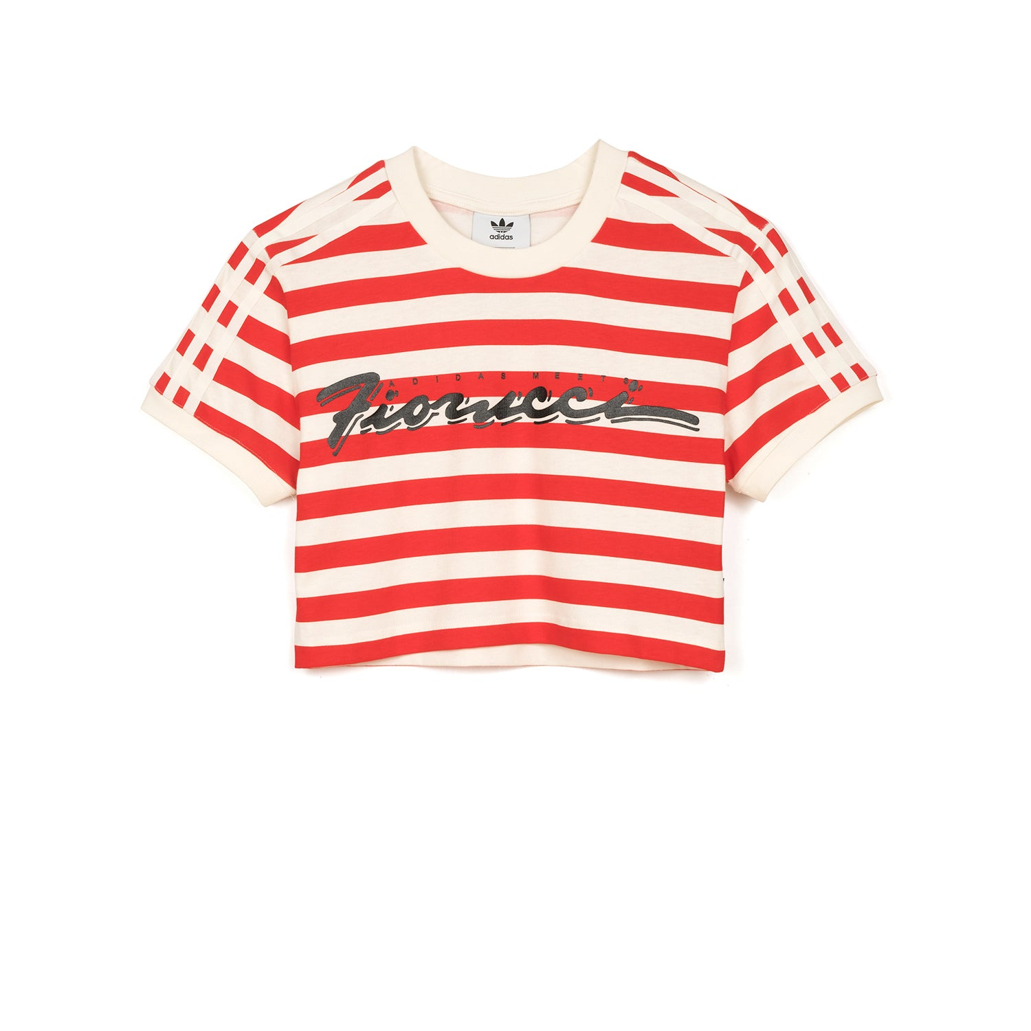 86891254595 adidas Originals x Fiorucci W Stripe Crop T-Shirt Off White – Concrete