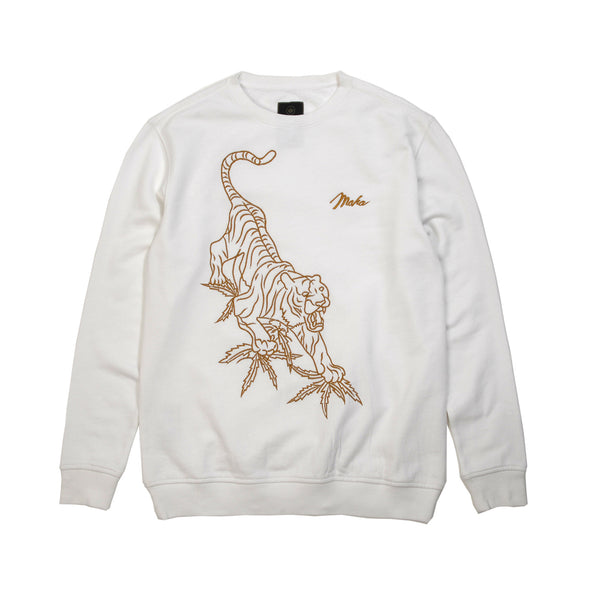 maharishi | Line Tiger Crew Sweat Optic White - Concrete