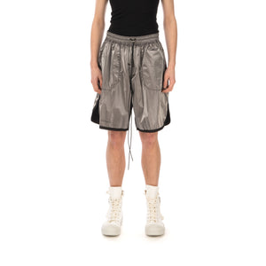 asparagus_ | Inside Out Foil Shorts Silver - Concrete