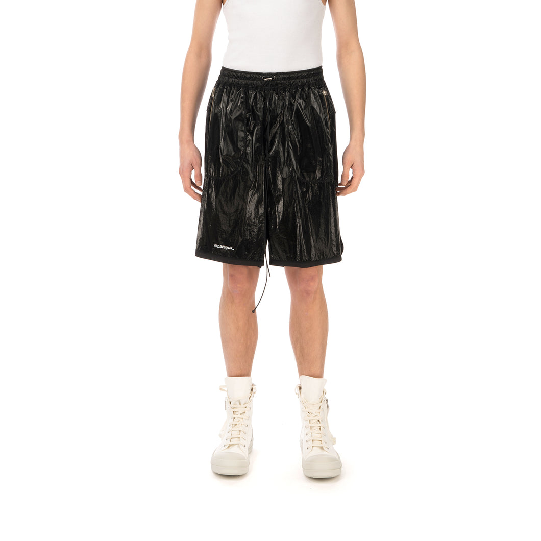 asparagus_ | Inside Out Foil Shorts Black