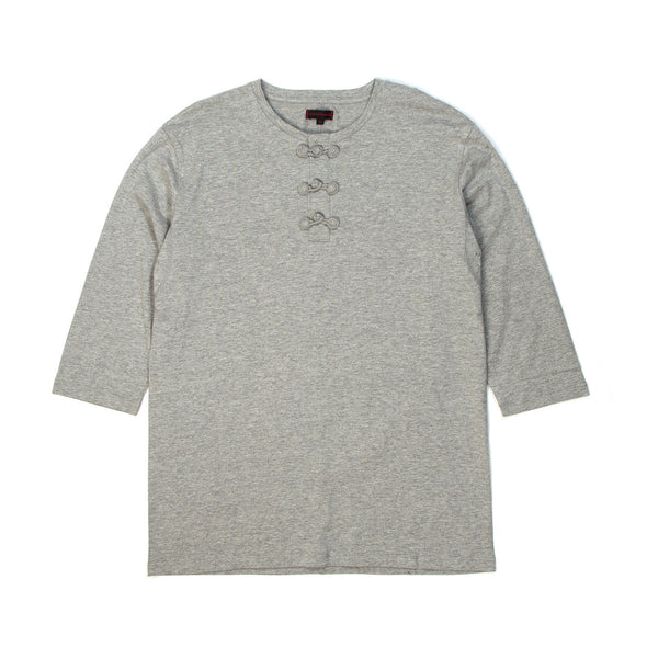 CLOT | Chinese Henley 3/4 Tee Heather Grey - Concrete