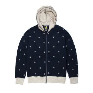 Ice Cream Cones & Bones Embroided FZ Hoodie Navy - Concrete