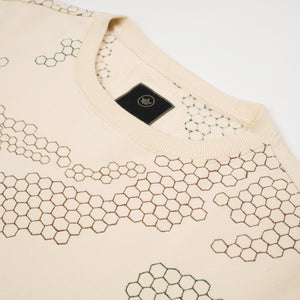 maharishi Hex Crew Sweat Afghan Cream