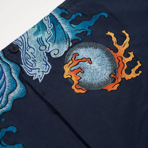 Maharishi Original Snopants Sea Dragon Embroidery Navy - Concrete