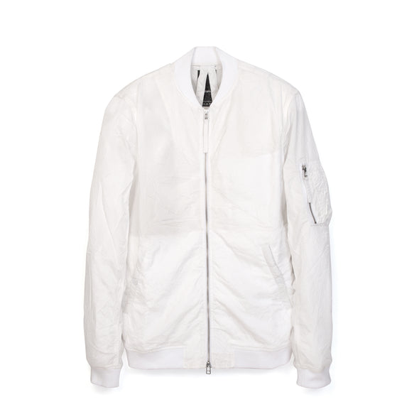 maharishi Crushed Flight Jacket White