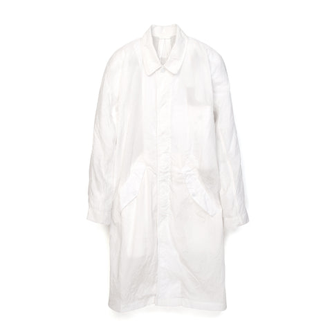 maharishi Crushed Mac Coat White