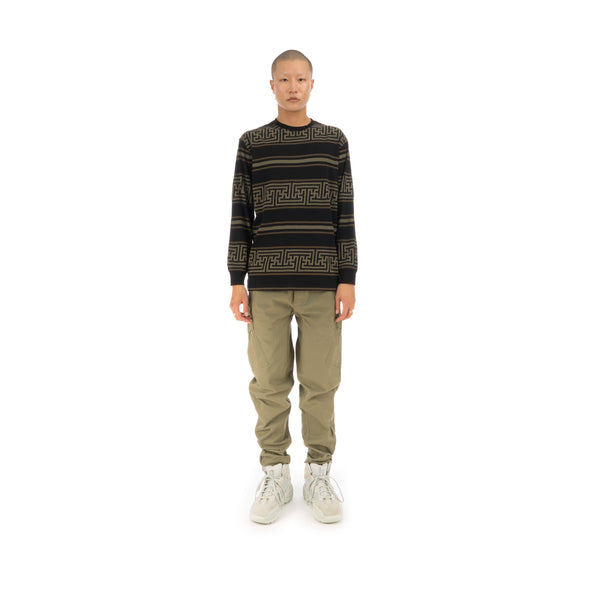 maharishi | Striped L/S T-Shirt Woodland - Concrete