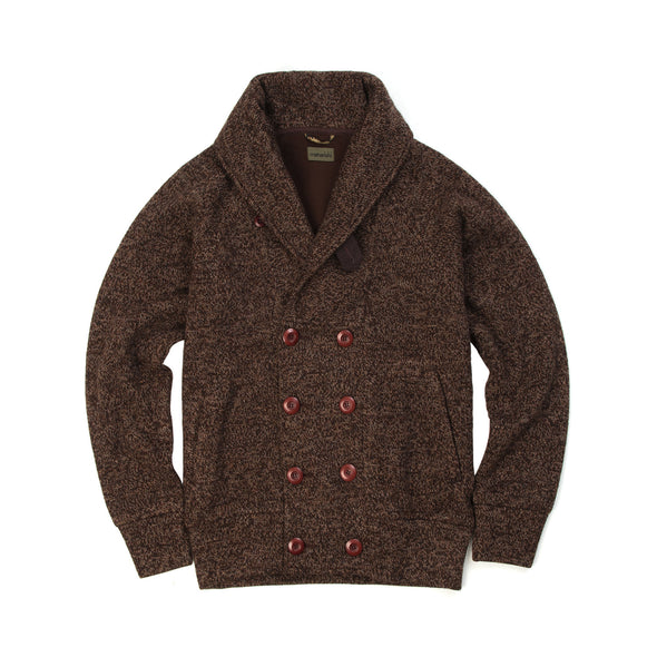 Maharishi Shawl Ribbed Knit Jacket Brown Melange - Concrete