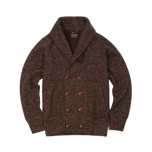 Maharishi Shawl Ribbed Knit Jacket Brown Melange
