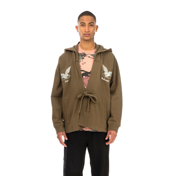 maharishi | Drone Eagle Hooded Sweat Kimono Maha Olive - Concrete