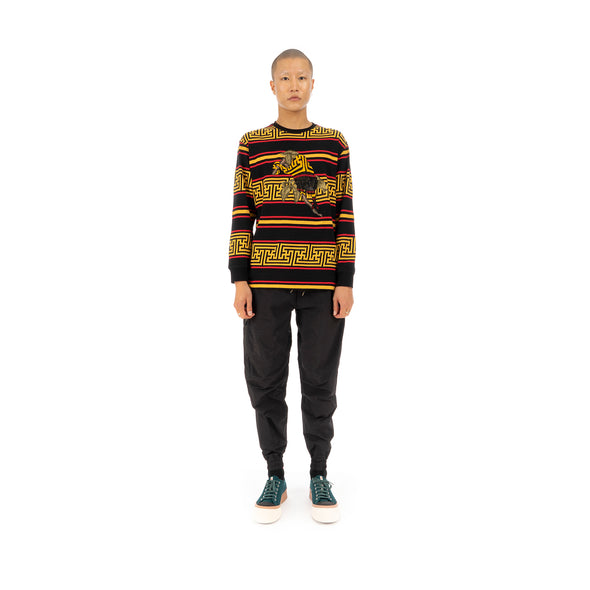 maharishi Embroidered Striped L/S T-Shirt Flare Red