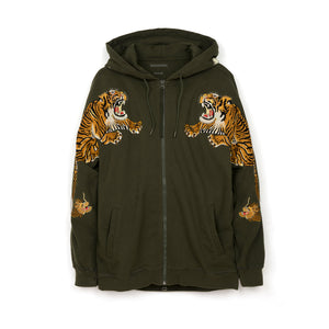 maharishi Tiger Style Zipped Hooded Sweat Mil Olive