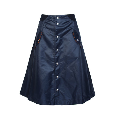 Marios W A-Line Skirt Rib Band Navy Blue