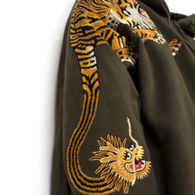 Load image into Gallery viewer, maharishi Tiger Style Zipped Hooded Sweat Mil Olive
