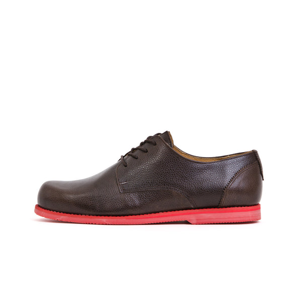 Soulland Thomas Grain Leather Derby Shoe Brown - Concrete