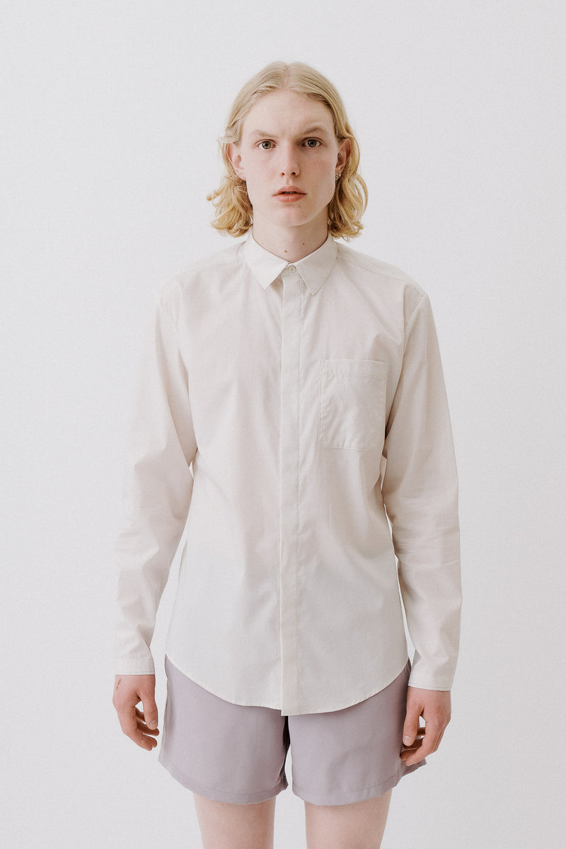 Shirt Without Cuffs 80´s Popeline, Beige