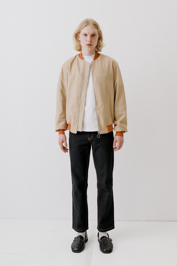 Bomber Virgin Wool Silk, Beige