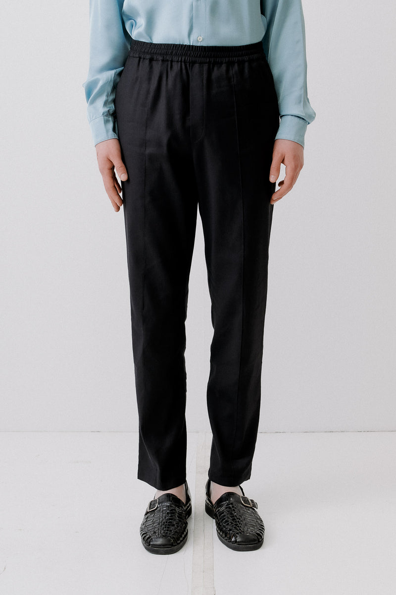 Trackpants Linen Blend, Black