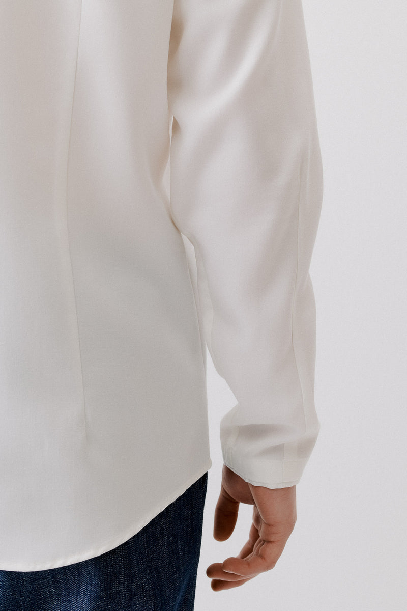 Shirt Without Cuffs Tencel Lenzing, Off-White