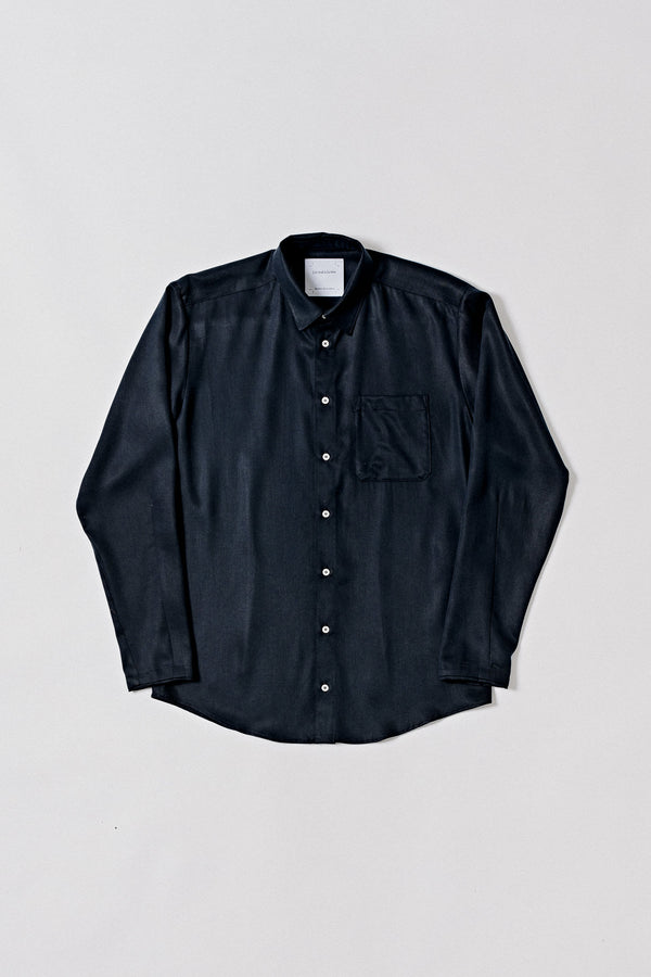 Shirt Without Cuffs Tencel, Navy