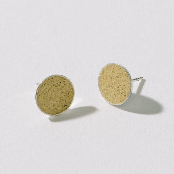 Ear Studs 10mm 925 Silver, Yellow