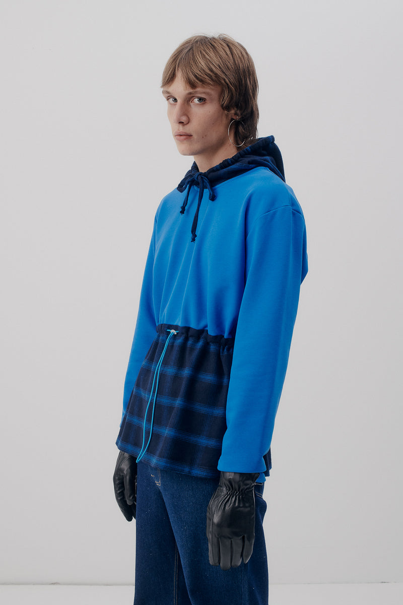 Hoodie Tunnelcord Checked, Blue