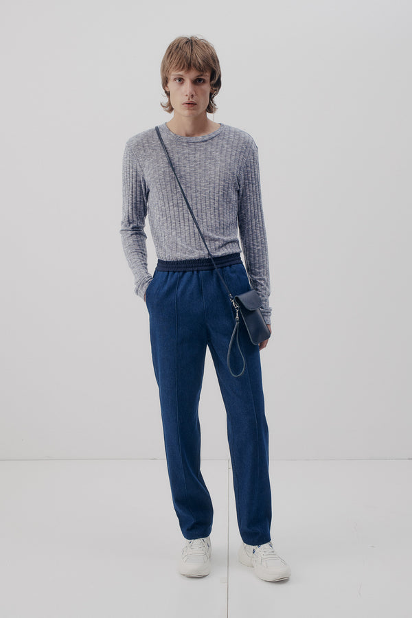 Track Pants Denim, Mid-Blue