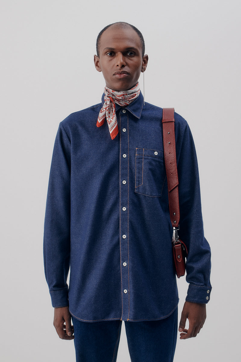 Overshirt Flannel Denim, Blue