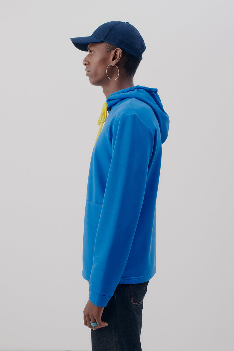 Sweater Hooded, Retro Blue