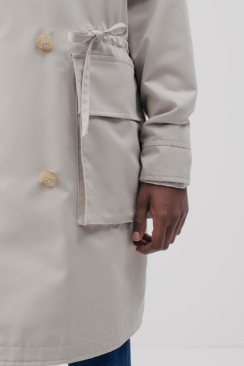 Trench-Parka Raincoat Twill, Beige