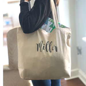 Personalized Canvas Zip Tote Bag