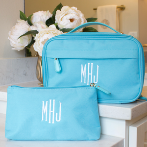 Personalized Toiletry Bag and Makeup Bag Turquoise