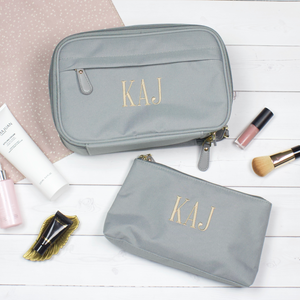 Personalized Toiletry Bag and Makeup Bag  Gray