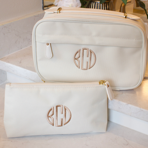 Personalized Toiletry Bag and Makeup Bag  Beige
