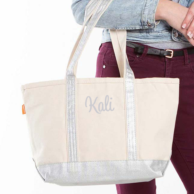 Canvas Metallic Trimmed Tote Bag