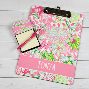 Clipboard and Sticky Note Holder - Preppy Floral Pattern