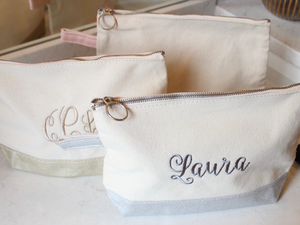 Cotton Canvas Metallic Trimmed Cosmetic Bag