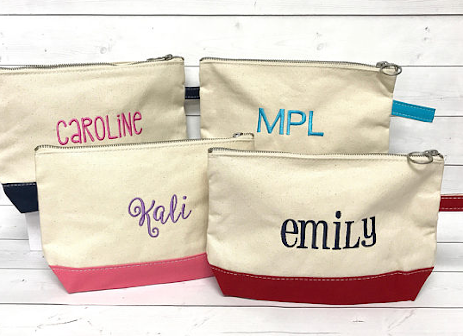 Cotton Canvas Contrast Trim Makeup Bag