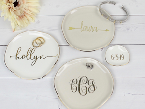 Personalized Gold Trimmed Ceramic Ring Dish
