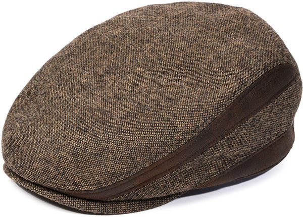 Men's brown newsboy cap - front view