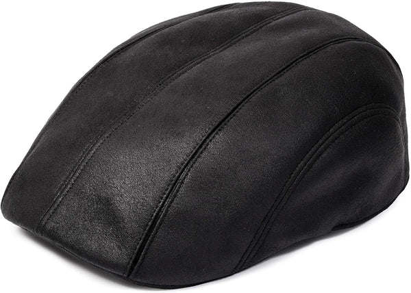 Men's Black Newsboy Cap - front view