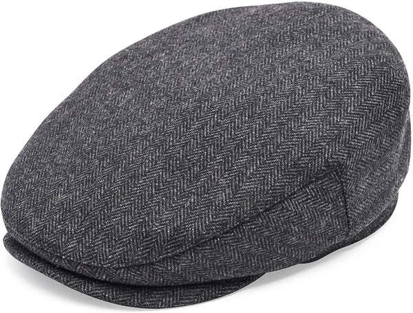 Men's black herringbone newsboy cap - front view