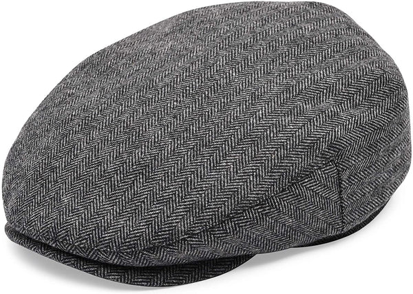 Men's gray herringbone flat cap front view