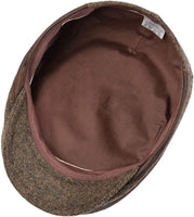 Men's brown gatsby hat - underside view